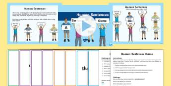 Human Sentences a Sentence Ordering Game - literacy, sentences