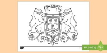Aberdeen Coat Of Arms Colouring Page - CfE Social Media Requests, Aberdeen, Scotland, Scottish cities, colouring page, coat of arms,Scottis