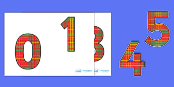 0-9 Display Numbers (Tartan) - 0-10, foundation stage numeracy, scottish, Number recognition, Number flashcards, counting, number frieze, Display numbers, number posters