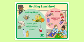 Healthy and Unhealthy Lunchbox Food Poster - lunchbox, poster