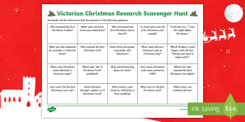 Victorian Christmas Research Scavenger Hunt - Christmas Traditions, Prince Albert, Queen Victoria, 1800s, Internet research