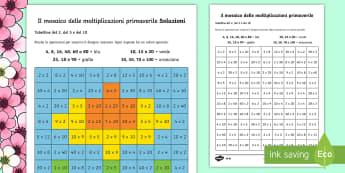 Mosaico delle Moltiplicazioni Primaverile Differenziato Attività - primavera, primaverile, operazioni, moltiplicazioni, mosaico, colori, colorare, fiore, italiano, ita