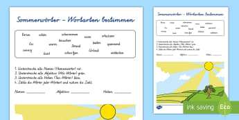 Sommerwörter Wortarten bestimmen Arbeitsblatt - Sommer, Jahreszeiten, Wortarten, Adjektiv, Verb, Nomen, Kl.1/2, summer, seasons, parts of speech, ad