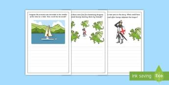 St. George's Day Writing Frames Pack - KS1, Key Stage One, Year 1, Year 2, St George's Day, Saint George's Day, 23rd April, George, Drago
