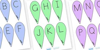 A Z Letter Fans Uppercase - a-z, alphabet, visual aids, letters