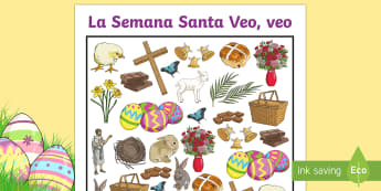 Easter Themed I Spy With My Little Eye Activity - Spring, KS2, Spanish, MFL, easter, themed, spy, little, eye, game, activity