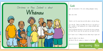 Christmas in New Zealand is about Whānau Display Poster and Guidance Pack - Xmas, Aotearoa, Ideas for ECE, Christmas, Inclusive Ideas