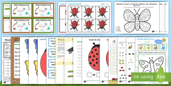 Minibeast Maths Activity Pack  - KS1 Maths, doubling, puzzles, bingo, number bonds, 100 square, bar graph, addition, counting