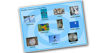Weather Instrument Word Mat - weather instrument word and image mat, weather meters word mat, weather, weather words, ks2 weather word mat, weather meters