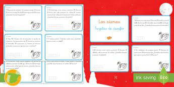 Tarjetas de desafío matemático: Los cisnes - Problemas, suma, sumar, adición, adicionar, multiplicación, multiplicar, división, dividir, matem