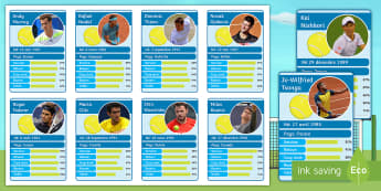 Wimbledon Themed Top Cards Game French - wimbledon, tennis, numbers, countries, skills, speaking, reading,French