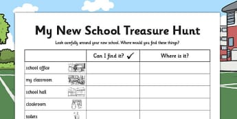 My New School Treasure Hunt - new school, treasure hunt, hunt