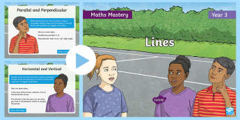 Year 3 Lines Maths Mastery PowerPoint - Reasoning, Greater Depth, Abstract, Problem Solving, Explanation