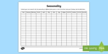 Seasonality Chart Activity Sheet - harvest, ripe, vegetables, fruit, farming.