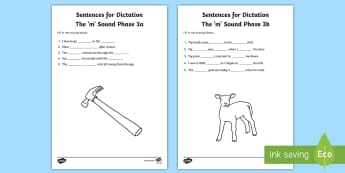 Northern Ireland Linguistic Phonics Stage 5 and 6, Phase 3a and 3b, 'm' Dictation Sentences Activity - Linguistic Phonics, Stage 5, Stage 6, Phase 3a, Phase 3b, Northern Ireland, sentences, dictation, wo