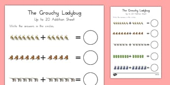 The Grouchy Ladybug Up to 20 Addition Sheet - usa, america, the grouchy ladybug, addition, 20