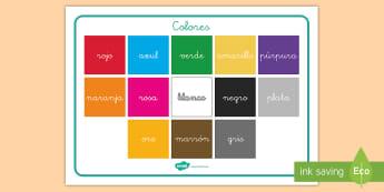 Tapiz de vocabulario: Los colores - palabras, vocabulario clave, escritura, colores, color, colorear, tapiz, vocabulario, ,Spanish
