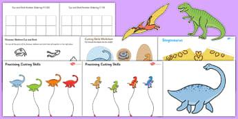 Dinosaur Themed Scissor Skills Pack - dinosaur, themed, scissor skills, pack, fine, motor, control