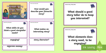 KS2 National Storytelling Week Question Cards - KS2 National Storytelling Week, KS2 reading, KS2 listening to stories, discuss stories, storytelling