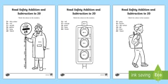 Road Safety Addition and Subtraction to 20 Colour by Number
