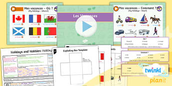 French: Holidays and Hobbies: Holidays Year 4 Lesson Pack 4