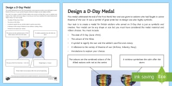 Design a D-Day Medal Activity Sheet - military, worksheet, Normandy beaches, remembrance, Second World War, allied, first world war, world
