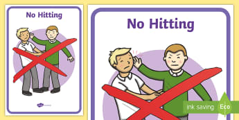 No Hitting Display Poster - KS1, Key Stage One, No Violence, No Smacking, Bullying, Violent, Sign, Instruction