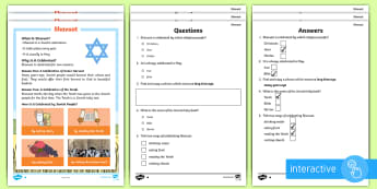 KS1 Shavuot Differentiated Comprehension Go Respond  Activity Sheets - Comprehension, Questions and Answers, English, Literacy, Reading, Reading Comprehension, Digital, Go