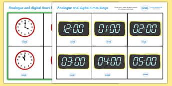 Analogue and Digital O' Clock Bingo - ESL Telling the Time Resources