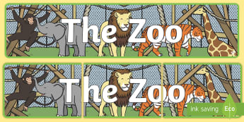 Zoo Role Play Display Banner - zoo, role-play, display, banner, bulletin board, animals, tiger, giraffe, title, lion, elephant, mon