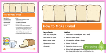 Bread Recipe Sheets - bread, harvest, how to make bread, bread recipe, recipe, recipe card, making bread, display poster, recipe information
