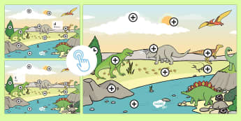 Dinosaurs Phase 2 Phonics Picture Hotspots - Dinosaurs, phonics, hot spot, interactive pdf, initial letters, initial sounds, Twinkl Go, twinkl go, TwinklGo, twinklgo
