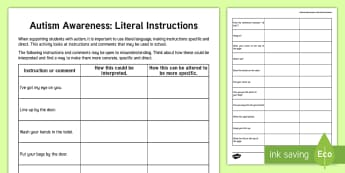 Autism Awareness   Literal Instructions Teacher Activity - World Autism Awareness Day, WAAW, autism awareness, literal language, teacher training, ASD