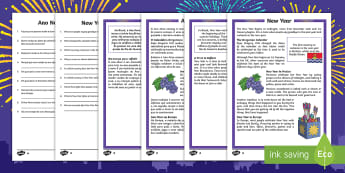 KS2 New Year Differentiated Reading Comprehension Activity English/Portuguese - KS2 reading comprehension, new year, New Year celebrations, new year resolutions, new year celebrati
