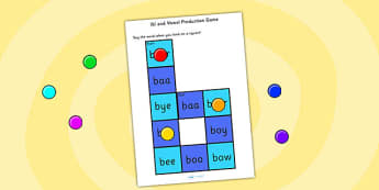 b sound and Vowel Production Game - vowels, sounds, letters, game