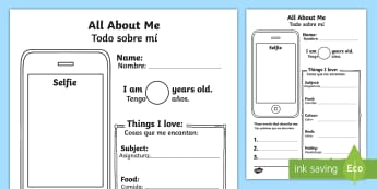 All About Me Selfie Activity Sheet - English/Spanish  - photo, selfie, mobile, transition, getting to know you, new class, beginning of year, iphone, writti