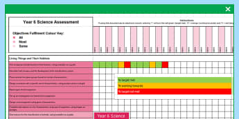 Y6 Science  Assessment Spreadsheet