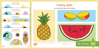 Fruit-Themed Cutting Skills Activity Sheet - EYFS, Early Years, physical development, scissor skills, cutting out, fruit pictures, healthy eating