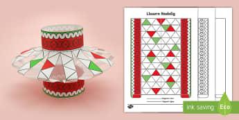 Gweithgaredd Crefft Llusern Nadolig Papur - nadolig, ndolig, christmas, llusern, lamp, lantern, addurn, decoration, fold, plygu, glue, gludo, creu, create