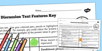 LKS2 Features of a Discussion Text Checklist - discussion, text