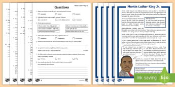 KS2 Martin Luther King Differentiated Reading Comprehension Activity - racial segregation, racism, significant individuals, ks2 history, 20th century.