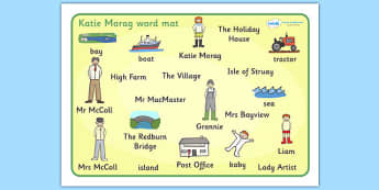 Word Mat to Support Teaching on Katie Morag - Katie Morag, story resources, mats, writing aid, Mairi Hedderwick, story, fine motor skills, scotland, scottish, book, resources, story book