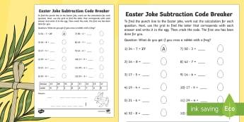 Easter Joke Subtraction Code Breaker Worksheet / Activity Sheet - NI, Easter, joke, code, breaking, numeracy, subtraction, bridging, digit, easter, subtract, fun math