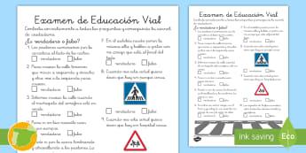Ficha de actividad: Examen de ciudadano - Test conducir, exámen de conducir, carnet de conducir, seguridad vial