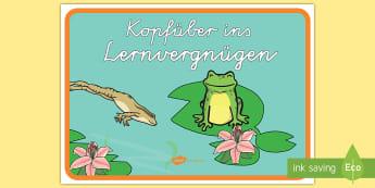 Kopfüber ins Lernvergnügen motivierendes Poster für die Klassenraumgestaltung - Lernen, Auswendig, Wissen, neues, Motivation, Lernmotivation,,German