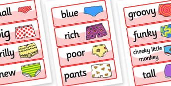 Story Word Cards to Support Teaching on Pants - pants, stories, pants story, word cards, topic cards, themed word cards, decsription, topic words, key words, descriptive words