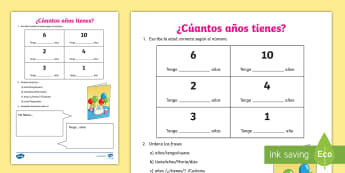 Age and Numbers Activity Sheet Spanish - how, old, are, you, numbers, writing, order, spellings