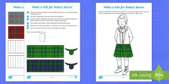 Make a Kilt for Robert Burns Worksheet / Activity Sheets - Robert Burns, paper craft, kilt, tartan, Scottish craft, worksheets, Scottish