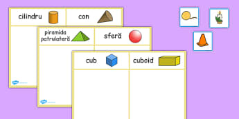 Corpuri geometrice - Cartonașe pentru sortat
