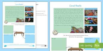 Coral Reefs Main Idea Activity Sheet - Underwater, Nonfiction, Informational text, summarizing, work on writing, daily 5